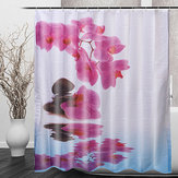 180 * 200センチ浴室のシャワーカーテンパープルフラワー防水バスカーテン
