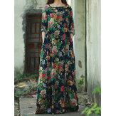 Retro Women Floral Printed Long Sleeve O-Neck Floor-Length Dress