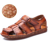 Men Cow Leather Non Slip Soft Sole Hook Loop Closed Toe Casual Sandals
