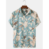 Hawaii Casual Men Plant Print Lapel Collar Short Sleeve Shirts