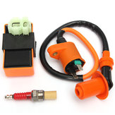 Ignition Coil+Racing CDI Box+ Spark Plug For GY6 50 125 150cc Moped Scooter ATV Go Carts
