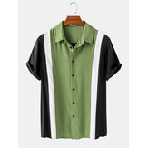 Mens Casual Solid Color Patchwork Lapel Collar Camisas de manga curta