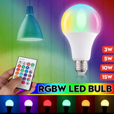 3W 5W 10W 15W RGBW E27 LED Bulb 16 Color Dimmable Globe Light With Remote Control For Party Decoration AC85-265V