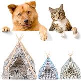 طوي الكتان كلب البيت قابل للغسل خيمة جرو القط داخلي في الهواء الطلق Teepee حصيرة