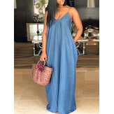 S-5XL Plus Size Sleeveless Strappy Long Denim Dress