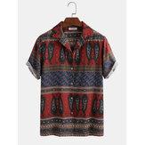 Hombres étnicos divertidos Patrón impresión Turn Down cuello camisas casuales