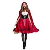 Halloween Female Little Red Riding Hood Suit Womens Solid Color Cosplay Party Dress Costumes Toy