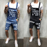Men's Jumpsuits Shorts Summer Hi Street Distressed Denim Bib Overalls Hiking Travel Holiday