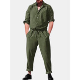 Men Casual Romper Long Sleeve Jumpsuit Stand Collar Military Overalls Cargo Pants