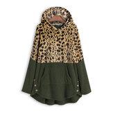 Unregelmäßiger Saum mit Kapuze Fleece-Sweatshirt mit Leopardenmuster und Tasche