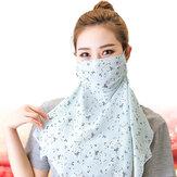 女性多目的花印刷マスク首保護カバー顔日焼け止め耳装着型スカーフマスク