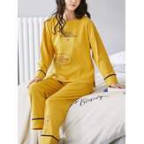 Women Ribbed Letter Print Cartoon Graffiti Pullover Elastic Waist  Pocket Home Casual Yellow Pajama Set