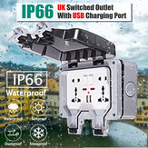 IP66 Wetterfeste Außensteckdose 13A Double Universal / UK Switched Outlet mit USB-Ladeanschluss