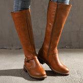 مشبك حزام Decoratioin أحذية نسائية منتصف العجل الدافئة عدم الانزلاق