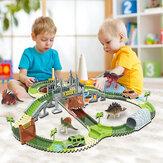 Dinoszaurusz vasúti játékautó pálya versenypálya játékkészlet oktatási kanyar rugalmas barkácsoló összeszerelt versenypálya autós játékok gyerekeknek