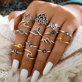 15Pcs Anéis de cauda de sereia oca de metal vintage folhas geométricas girassol conjunto de anel ajustável