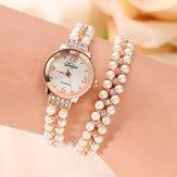 DUOYA Mujer Pulsera de perlas de cristal Caso Reloj de cuarzo
