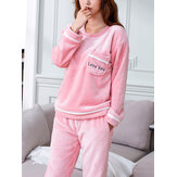 Women Letter Embroidery Double-Faced Flannel Warm Cozy Round Neck Sleepwear Set With Pocket