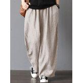 Mulheres cintura elástica alta solta sólida perna larga Calças