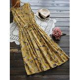 M-5XL Women Sleeveless High Drawstring Waist Floral Dress