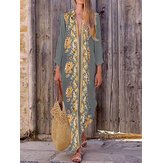 Bohème femmes col en V imprimé floral Beach Holiday Split Maxi Dress