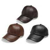 Men's Autumn Winter PU Lace-up Baseball Caps Outdoor Sport Warm Adjustable Leather Hats