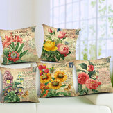Flores Padrão Quote Pillow Caso Sparkly and Colorful Cotton Lingerie Vintage Style Cushion Cover