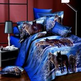4pcs Suit 3D Snowfield Wolf Reactive Dyeing Polyester Fiber Bedding Sets Queen Size