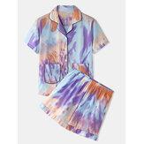 Mulheres Tie Dye Button Up Pocket Revere Collar Conjunto de pijama de manga curta em casa
