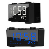 LED Projection de temps Double alarme Timing Date Clock Snooze FM Radio USB Charging