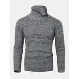 Mens Texture Solid Color High Waist Warm Long Sleeve Knitted Sweaters
