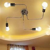 E27 4 رؤساء خمر الصناعية الثريا قلادة ضوء المعادن فلوش جبل مصباح السقف ac110-240v