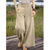 Women Pure Color Casual High Elastic Waisted Plain Wide Leg Pants With Pocket
