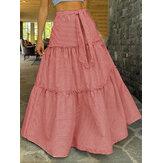 Женские свободные плиссированные юбки-качели в полоску с поясом и высокой талией
