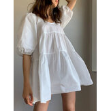 Women Puff Sleeve U-Neck Solid Color Short Sleeve Casual Tiered Dress