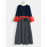Talla grande Mujer Rayas Impresión Contraste Color Maxi Vestido