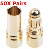 50 Pairs 3.5mm Gold Bullet Banana Connector Plug Male & Female For ESC Battery Motor