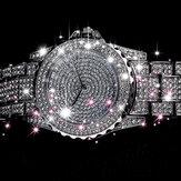 LVPAI XR2650 Shinning Crystal Ladies Wrist Watch Rhinestone Big Dial Quartz Watch