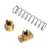 T8 Schraubmutter Kupfer Anti-Spiel Anti-Spiel Trapezförmige Mutter Teilung 2 mm / Führung 8 mm Edelstahlschraube für 3D-Drucker