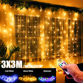 3mx1m / 3mx2m / 3mx3m LED Fairy Gordijn String Light Afstandsbediening 8 Modi USB Opknoping Bruiloft Slaapkamer Party Home Decor