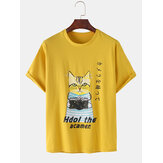 Cotton Cute Cartoon Cat Pattern Slogan Print Short Sleeve Casual T-Shirts