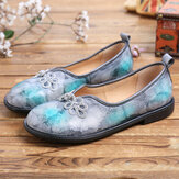 SOCOFY Tie-dye Leather Chinese Knot Decor Comfy Soft Slip On Chaussures plates