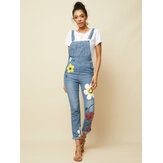 Femmes Casual Big Flower Print Pockets Denim Jumpsuit