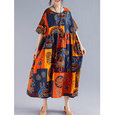 Women Retro Folk Style Print Loose O-Neck Short Sleeve Dress