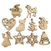 100PCS Wooden Piece Cartoon Cute Creative DIY Cutouts Craft Embellishments Wood Ornament Decorations