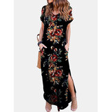 Women Floral Print Short Sleeve O-Neck Side Pockets Dress