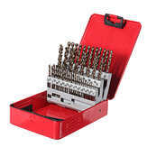 Drillpro 51Pcs 1-6mm M35 Cobalt Drill Bit Set HSS-Co Jobber Length Twist Drill Bits with Metal Case for Stainless Steel Wood Metal Drilling