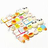 Banggood Kawaii 10個の絶妙なスクワイのランダムチャームSoft Panda /パン/ケーキ/パンの電話ストラップのおもちゃの装飾