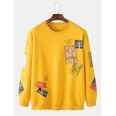 Herren Label Print Pullover Rundhalsausschnitt Langarm Baumwolle Sweatshirts