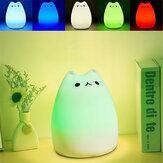 Cor recarregável mutável silicone LED luz da noite controlo de toque sensível para casa